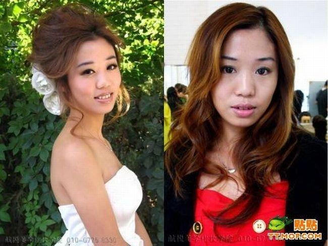 Азиатские девушки до и после косметики (11 фото)