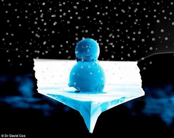 Микроскопический снеговик (2 фото)