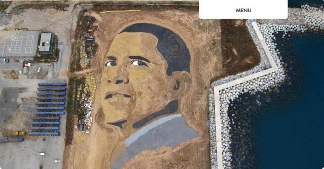Огромный портрет Обамы (8 фото)