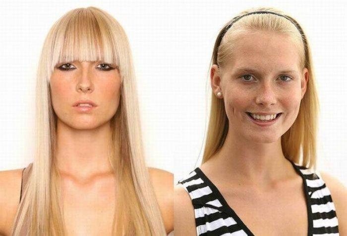 Девушки с косметикой и без (8 фото)