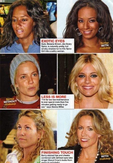 Знаменитости с косметикой и без (61 фото)