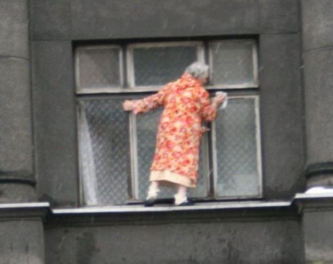Бесстрашная бабулька (7 фото)