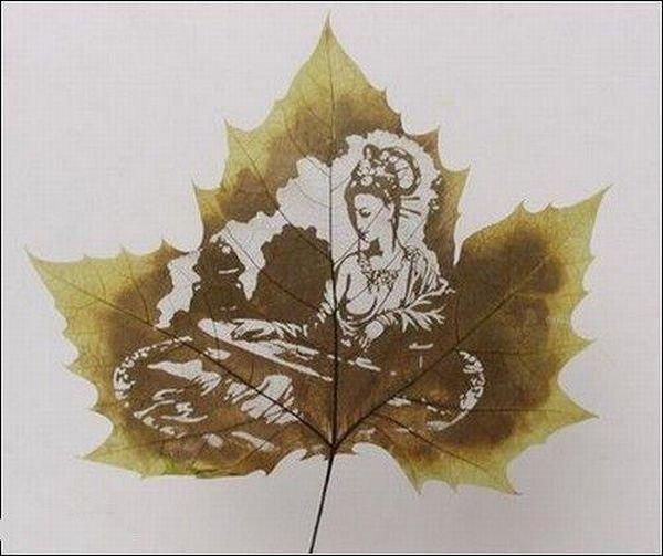 Узоры на кленовых листьях (13 фото)