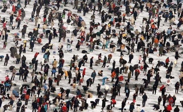 Фестиваль зимней рыбалки в Южной Корее (13 фото)