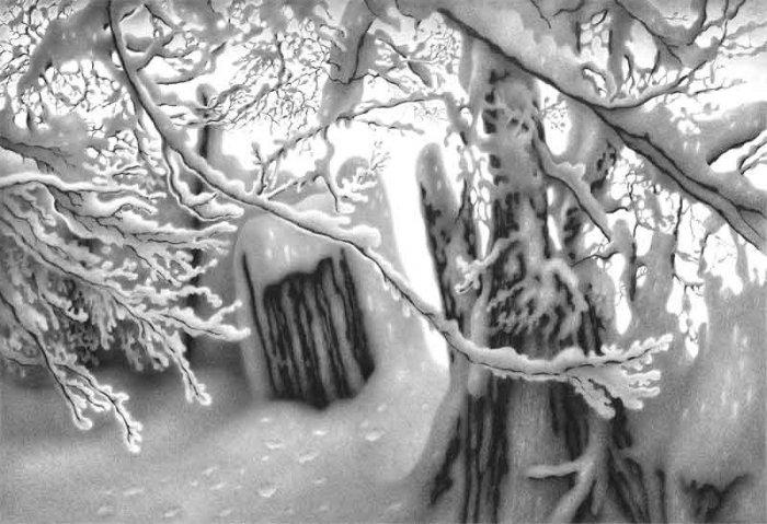 Зимние рисунки карандашом (44 фото)