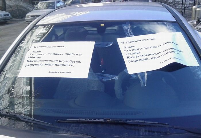 Борьба с парковщицей (3 фото)