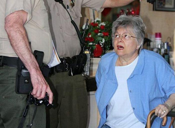 Бабуля влетела в парикмахерскую (7 фото)