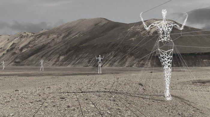 Линии электропередач в форме людей (4 фото)