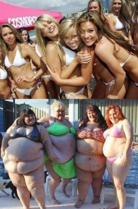 Стройные и толстые (18 фото)