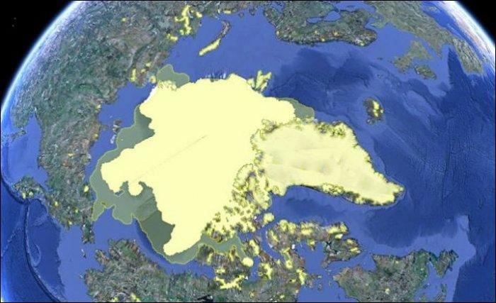Арктические льды в 2000 и 2010 году (3 фото)