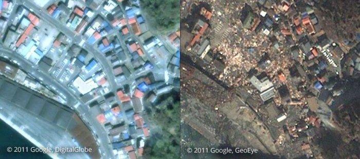 Япония до и после цунами (25 фото)