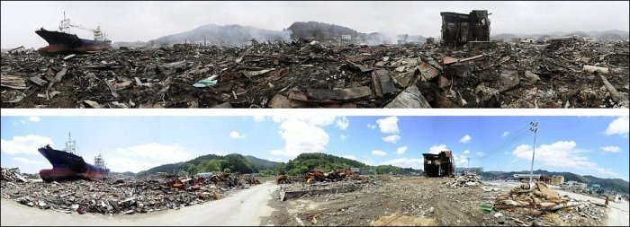 Восстановительные работы в Японии после цунами (14 фото)